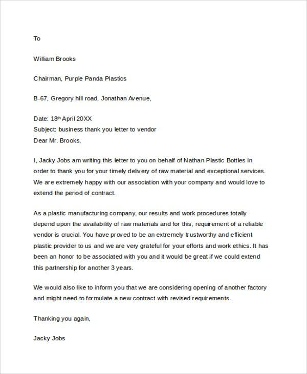 Business Thank You Letter Business Thank You Letter 12 Free - professional thank you letter