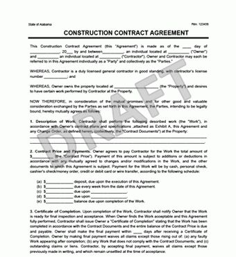 Sample Construction Contract Form Construction Contract 9 - free sample construction contract