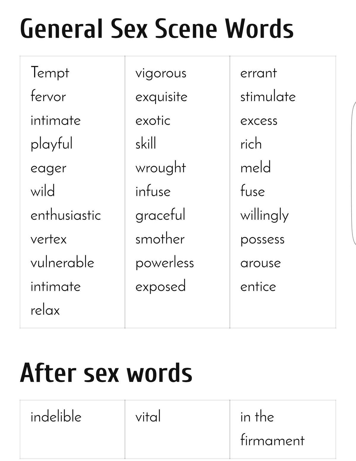 Sex sound words