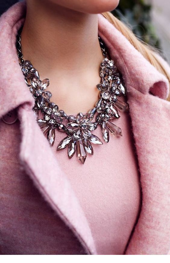 Amazing pink top and coat with necklace
