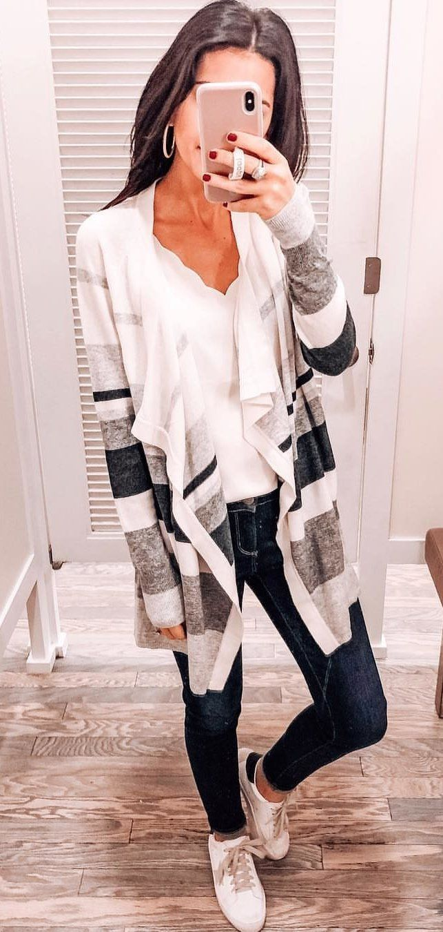 white, black, and gray striped long-sleeved cardigan #spring #outfits