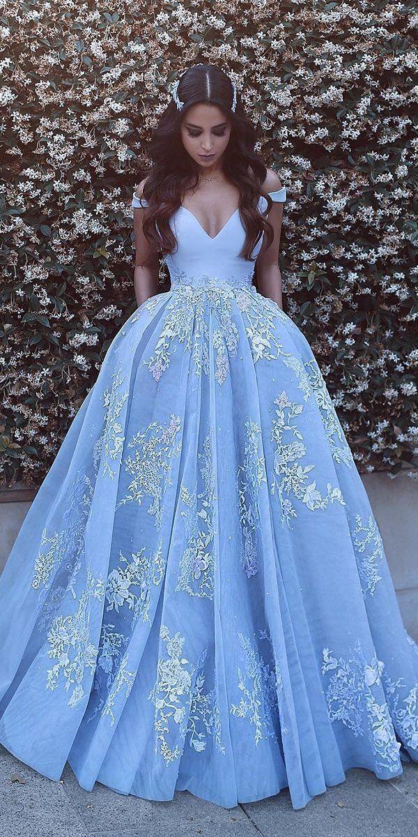 21 Adorable Blue Wedding Dresses For Romantic Celebration ❤ blue wedding dresses ball gown off the shoulder lace saidmhamad #weddingforward #wedding #bride