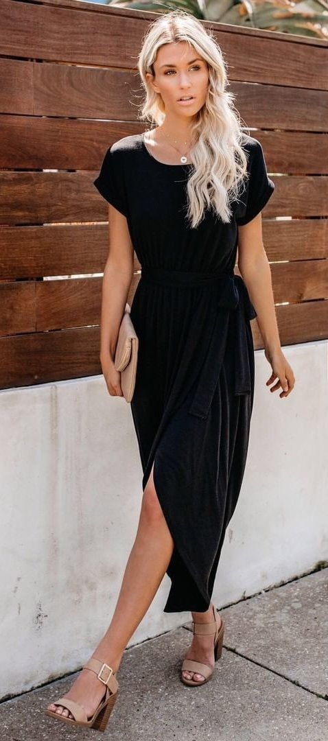 black crew-neck cap-sleeved side-slit dress #spring #outfits