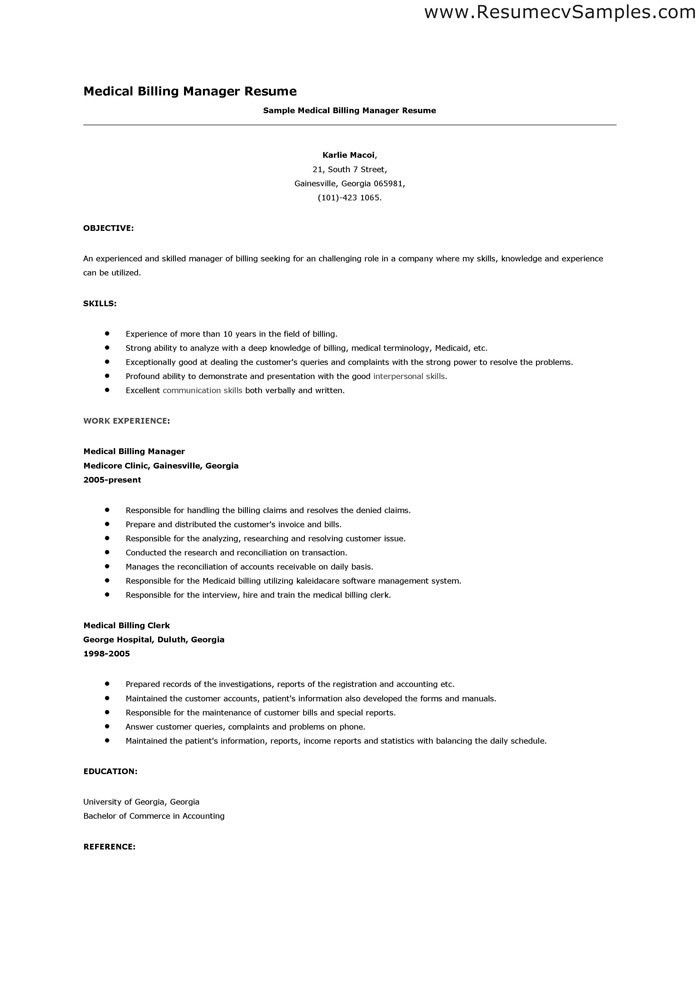 Medical Biller Resume Sample Professional Medical Billing And