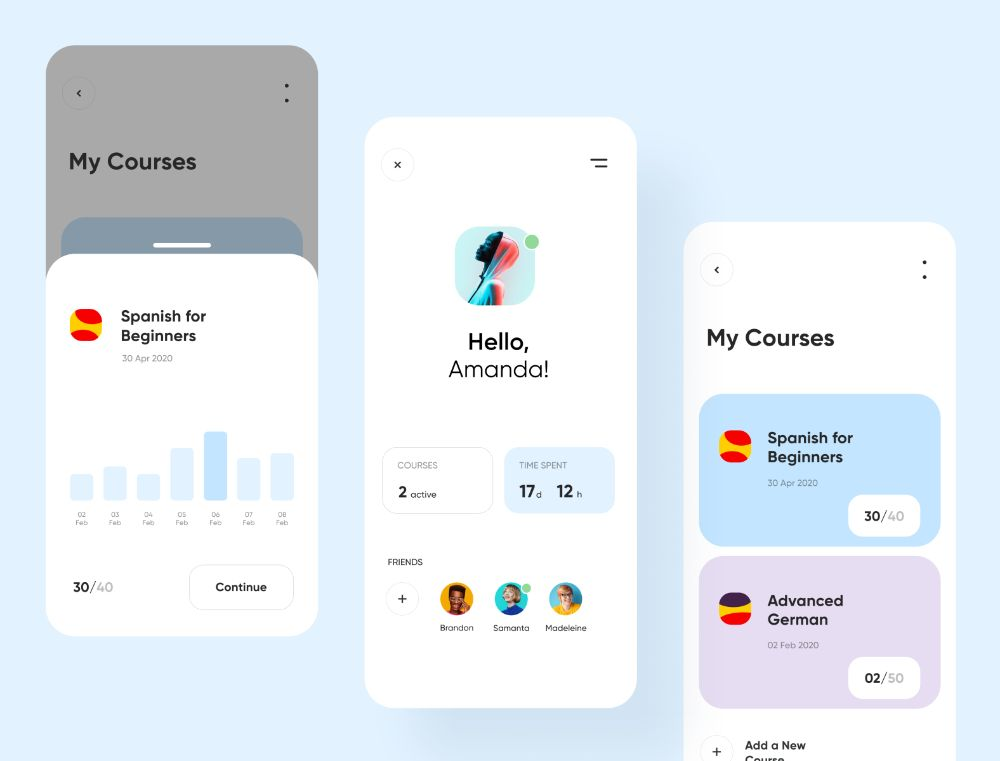 Language Courses App by Georgy Romanov on Dribbble