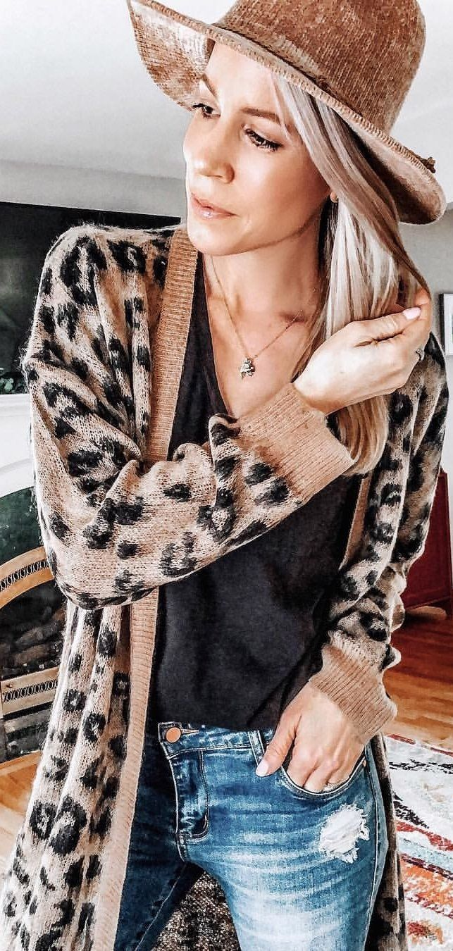 brown and black leopard print long sleeve dress #winter #outfits