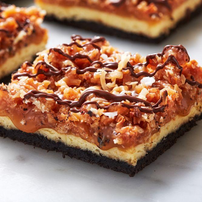 Samoa Cheesecake Bars - Delish.com
