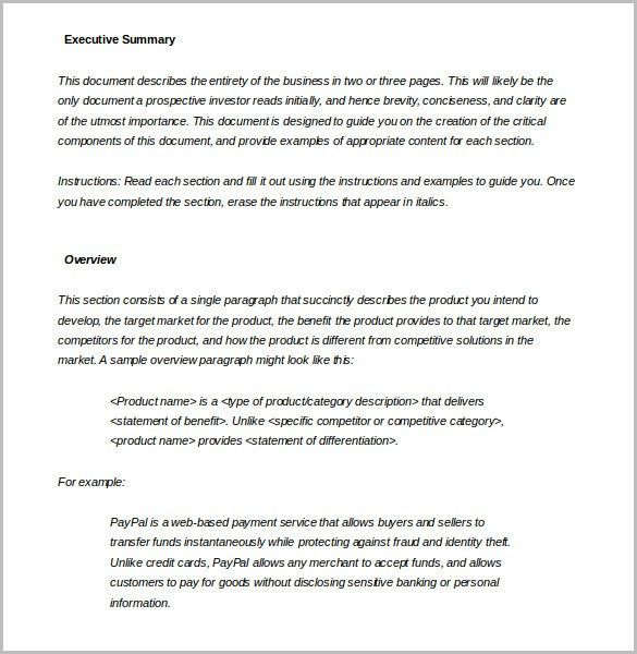 Executive Summary Samples 31 Executive Summary Templates Free - business summary template