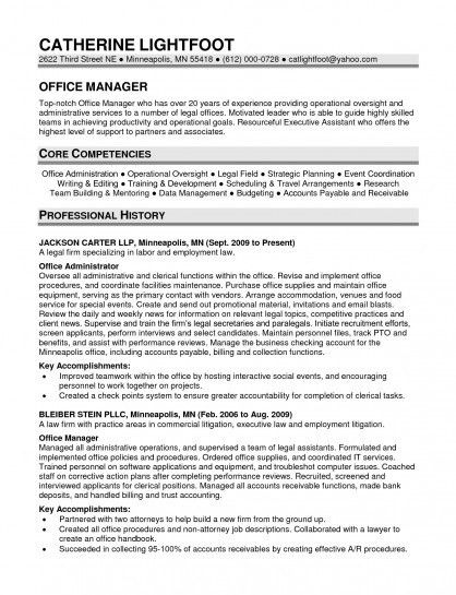 Office Manager Resume Examples  Core Competencies Resume