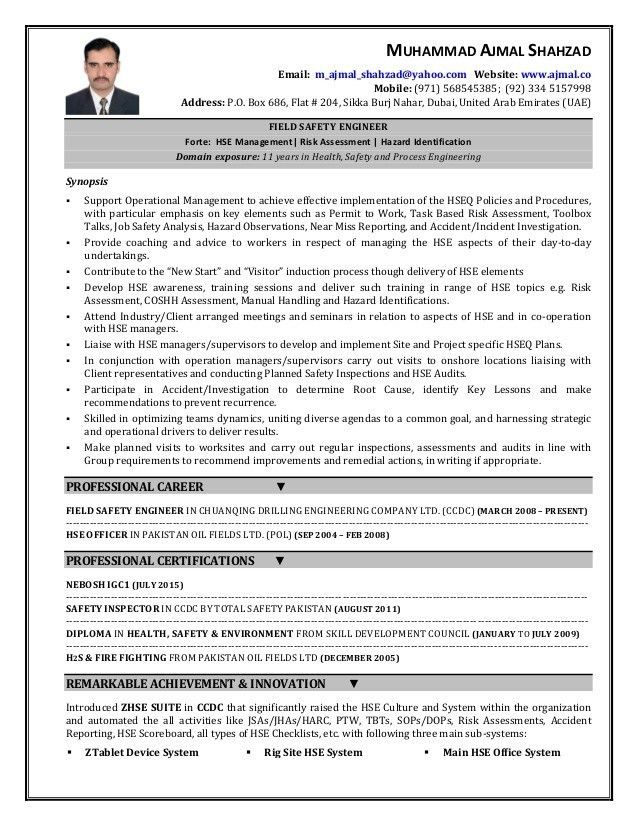 Hse Officer Sample Resume Hse Officer Cv Sample Myperfectcv, Hse