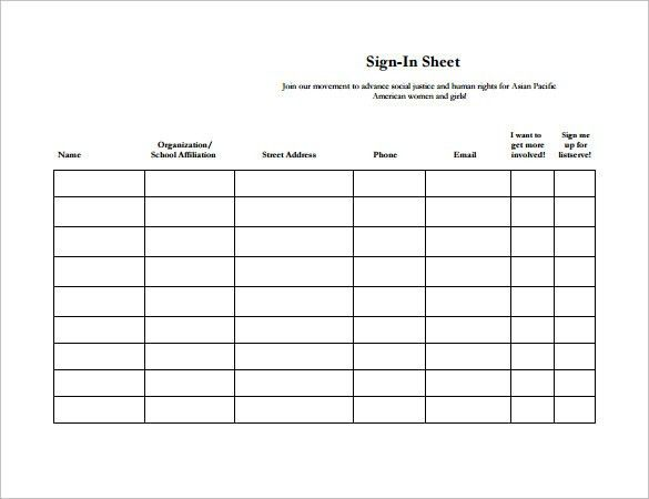 Sample Sign In Sheets Printable Sign In Sheet Visitor Class And - meeting sign in sheet