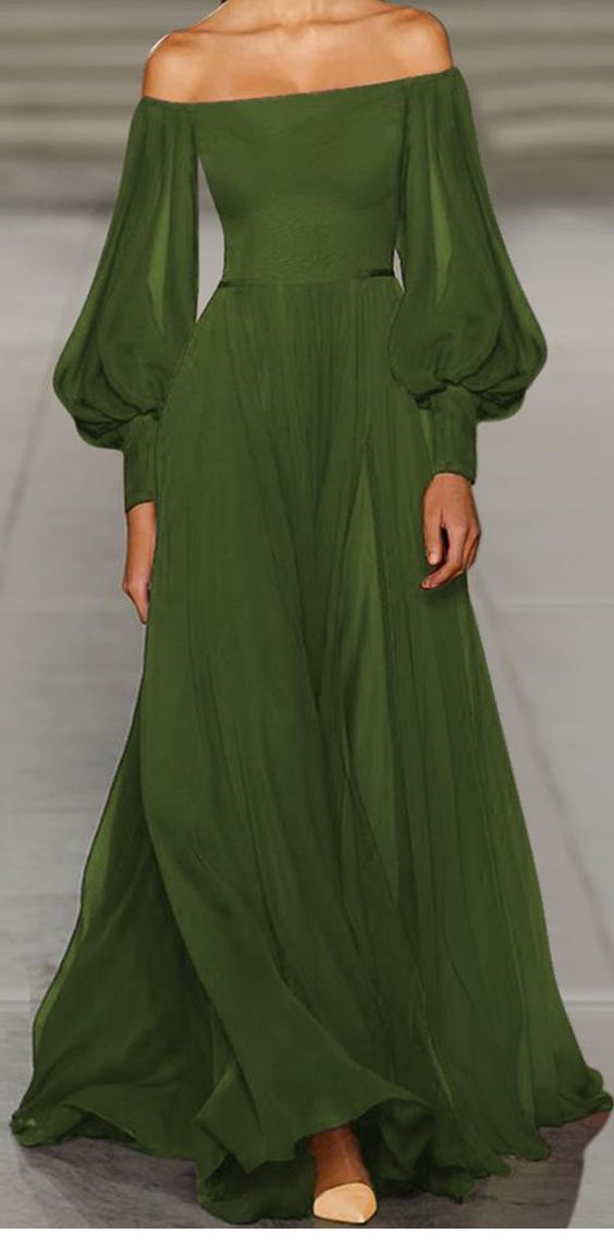 Amazing olive long dress
