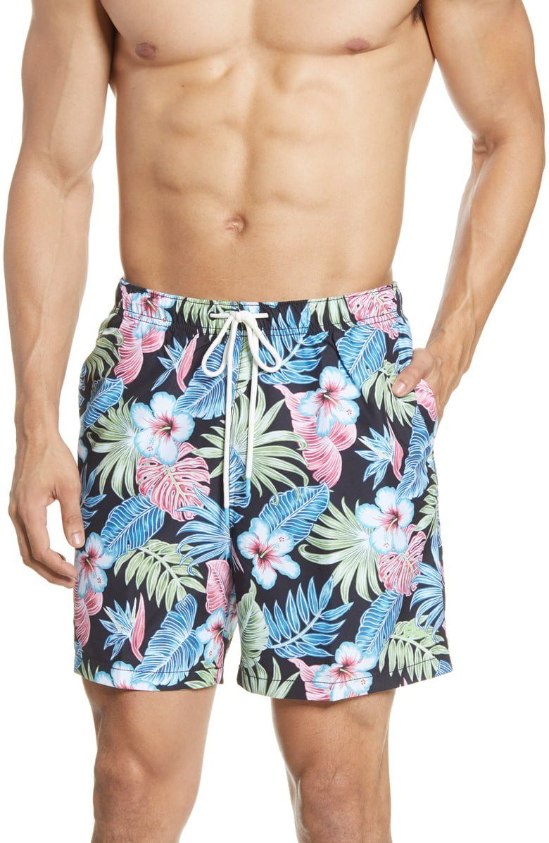 Bring the aloha to any beach or pool in these swim trunks patterned in vibrant tropical foliage with plenty of pockets for all the sea shells.