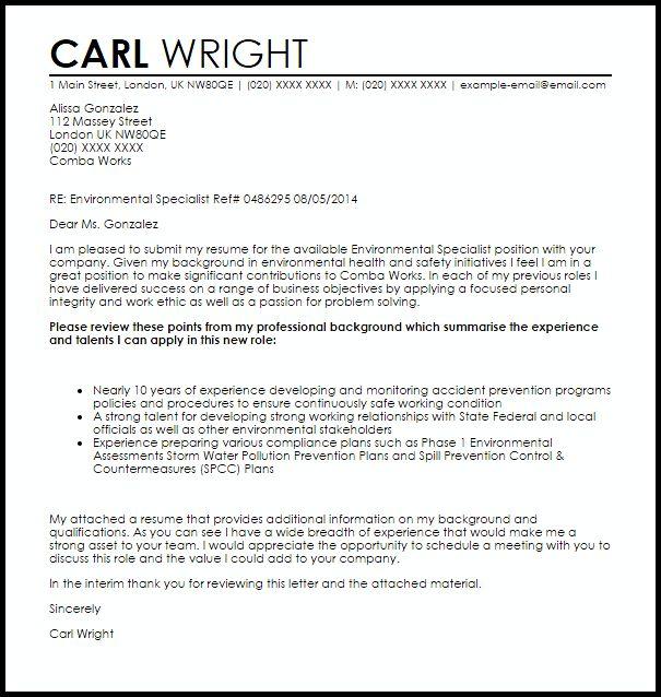 cover letter for environmental job - Fieldstation.co