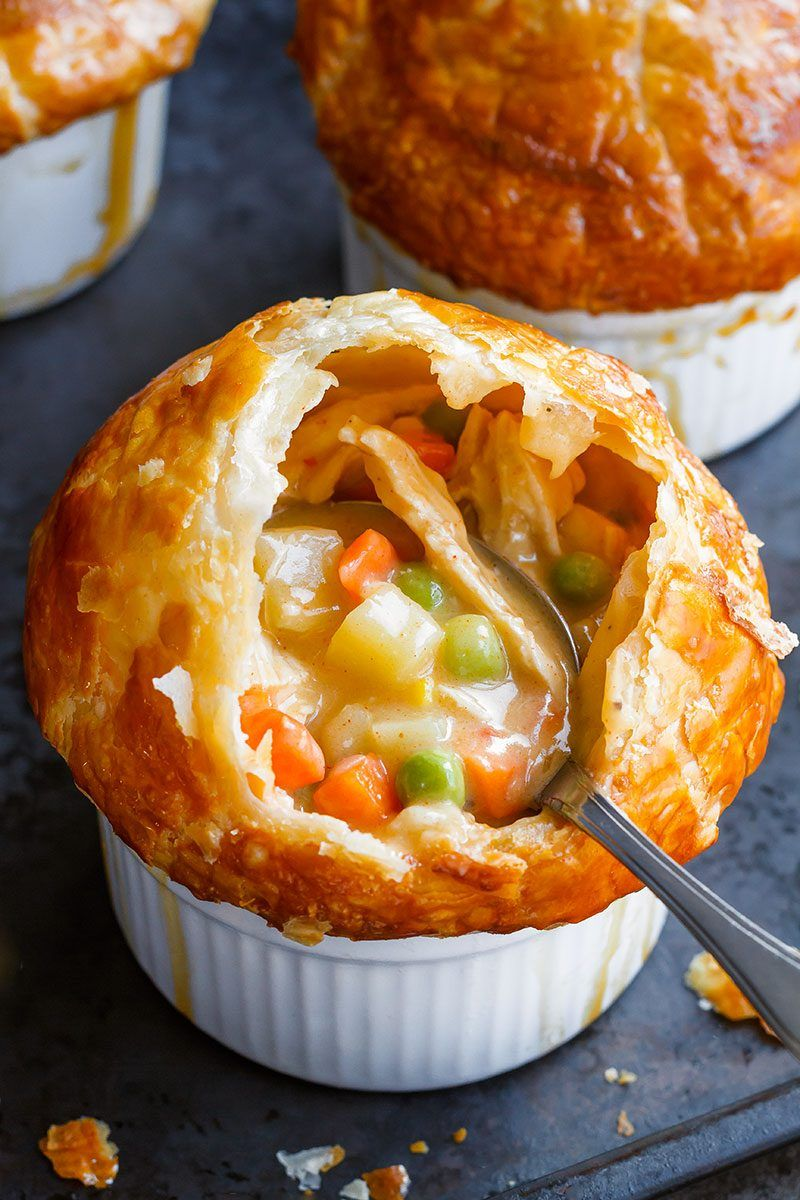 Creamy Chicken Pot Pie - Rich, flavorful with a golden brown crispy crust, these individual chicken pot pies are seriously comforting. - #recipe by #eatwell101