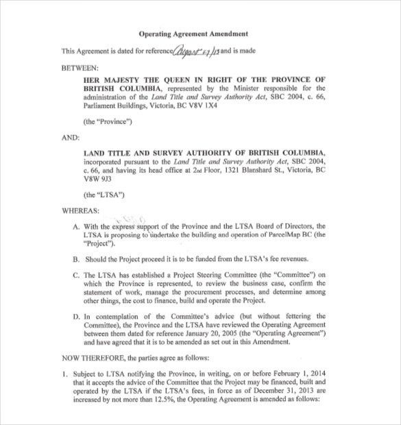 Operating Agreement Template Llc Operating Agreement Sample - contract amendment template