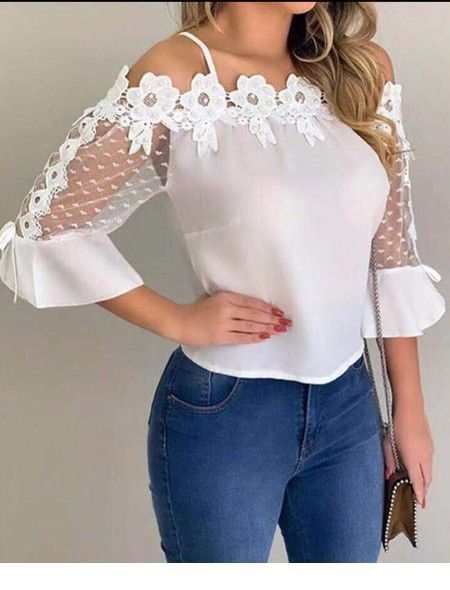 Nice white blouse and blue jeans