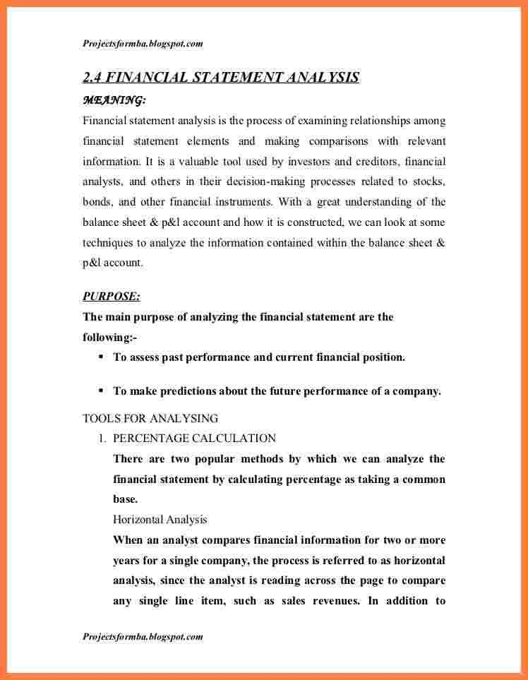Financial Analysis Report Writing A Project Report On Analysis Of - analysis report sample