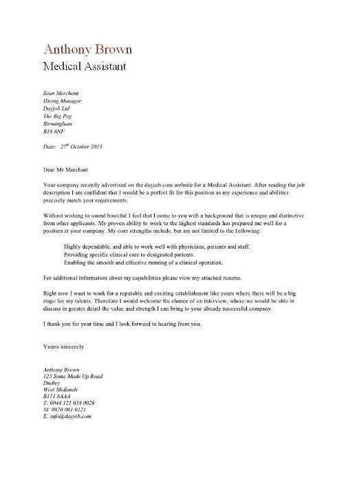 Example Of Medical Assistant Cover Letter Medical Assistant - medical assistant thank you letter sample