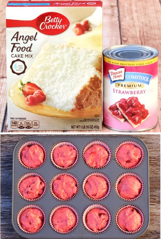 Strawberry Desserts - Easy Angel Food Cupcakes and Muffins {Just 2 Ingredients}
