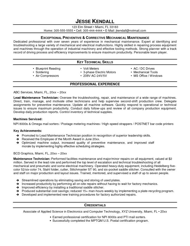 automotive technician resume search veterinary field service