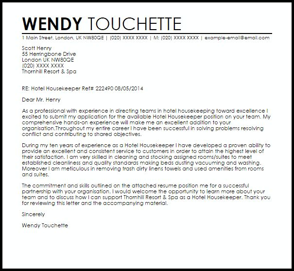 Sample Housekeeper Cover Letter Housekeeping And Cleaning Cover - cover letter for resumes examples