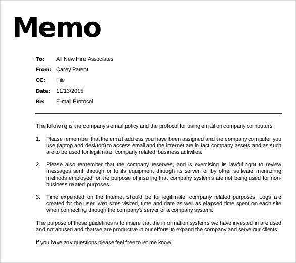 inter office memo format