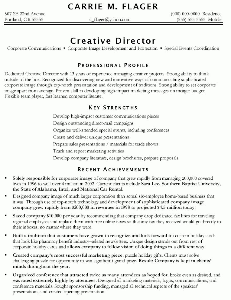 Example Of Marketing Resume Marketing Resume Sample Resume Genius - marketing director resume examples