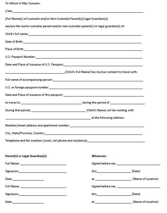 Parental Consent To Travel Form Printable Ms Word Parent Consent - passport consent forms