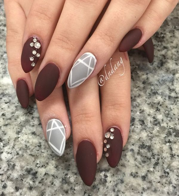 Mocha and gray inspired winter nail art. Paint your nails in matte mocha and gray polishes and add details in white polish and silver beads on top for accent.