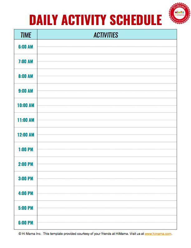 Daily Routine Chart Template Kids Daily Routine Chart Template - daily routine chart template