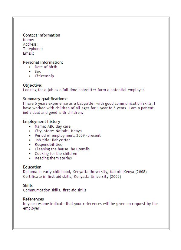 babysitter resume objective example resume for babysitting