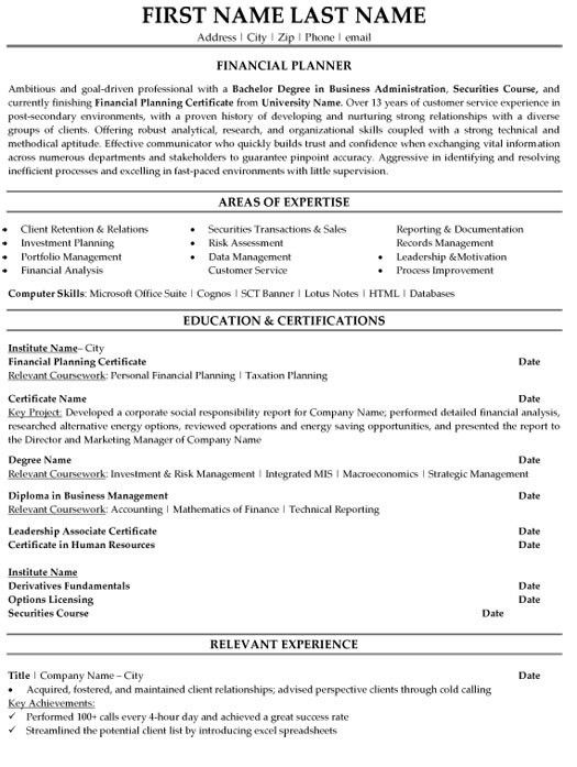Financial Planner Resume Planner Resume Financial Advisor Resume