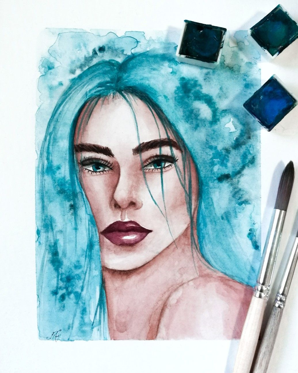 By Sasuworld Watercolor Aquarell Aquarellportrait Portrait