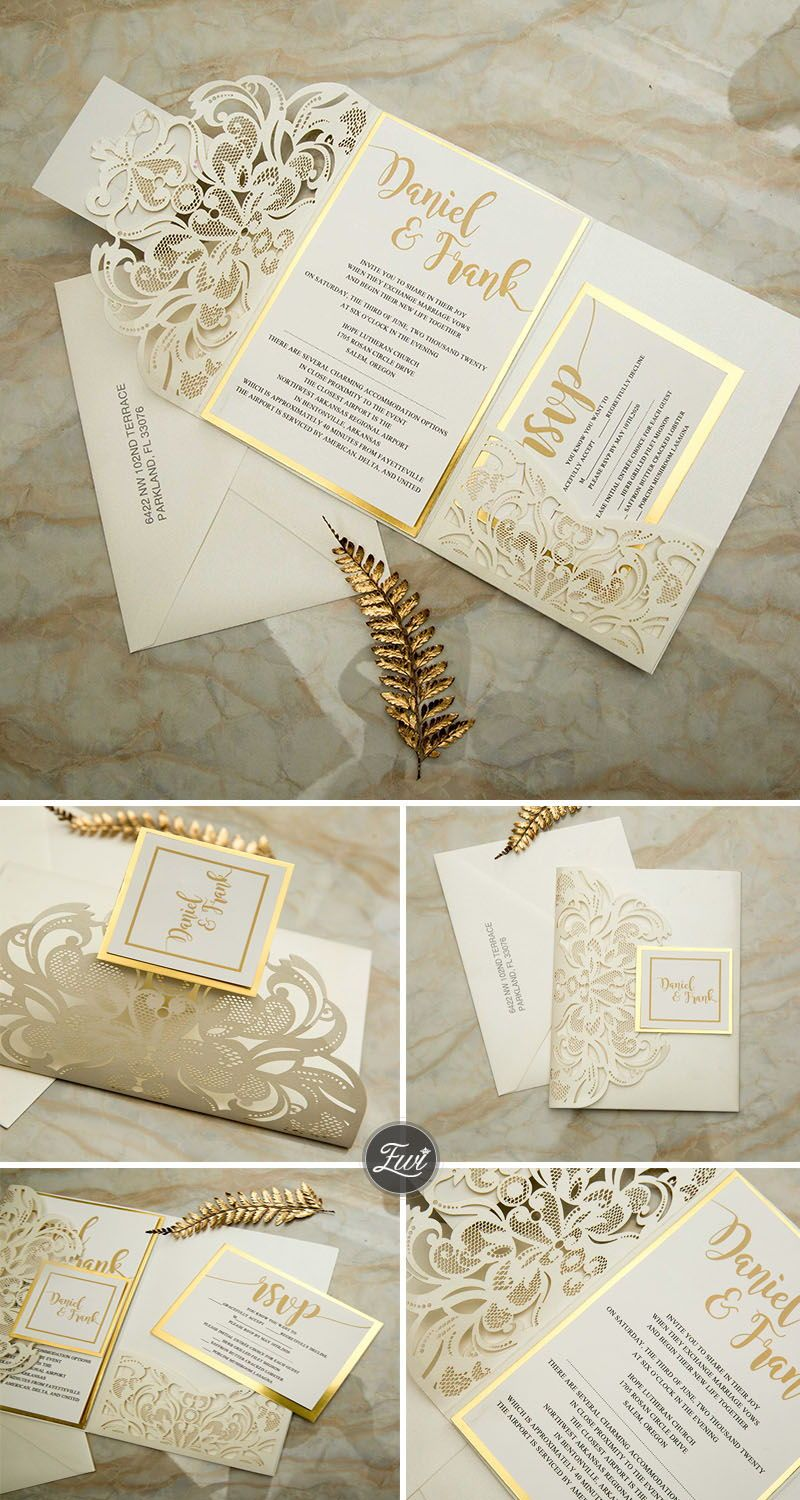 #EWI ivory laser cut pocket fold with modern invitation set on a mirrored backer with personalized tag for finishing EWWS264
