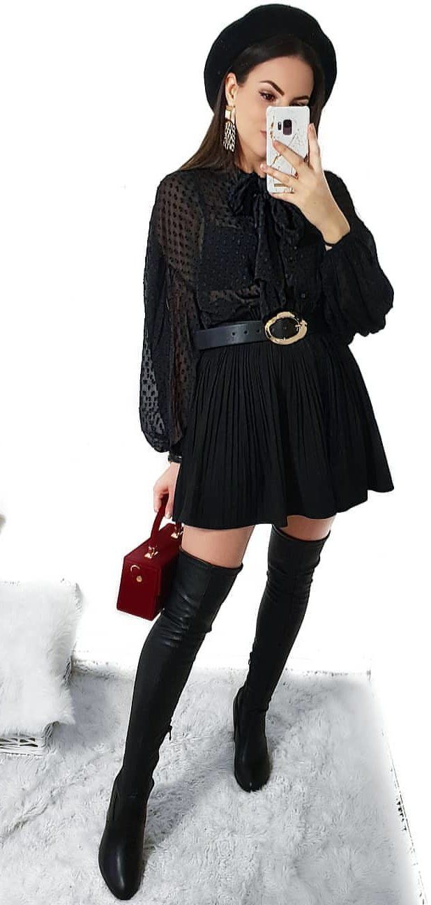 black collared long-sleeved minidress #spring #outfits