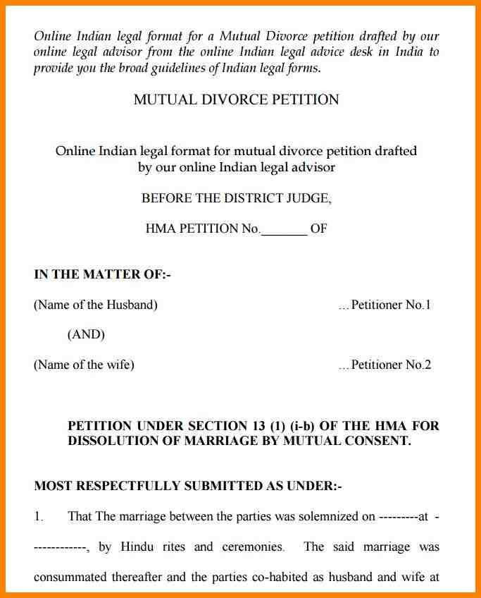 Awesome ... Divorce Notice Format Free India Mutual Divorce Petition Form Pdf    Petition Format ...  Divorce Notice Format