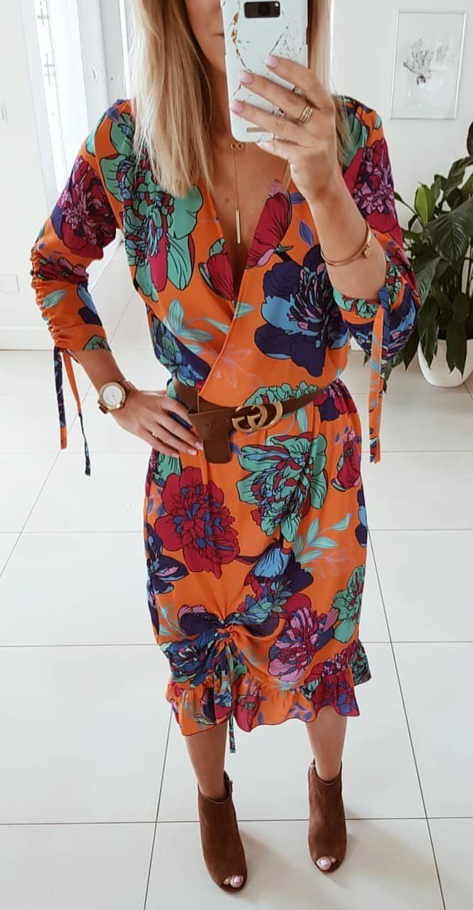 orange and blue floral v neck dress #spring #outfits