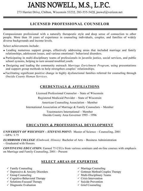 Sample Resume For Elementary School Counselor Position Counseling