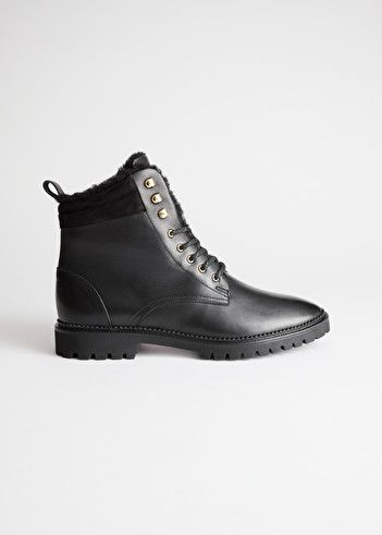 Leather Lace Up Snow Boots - Black - Ankleboots - & Other Stories