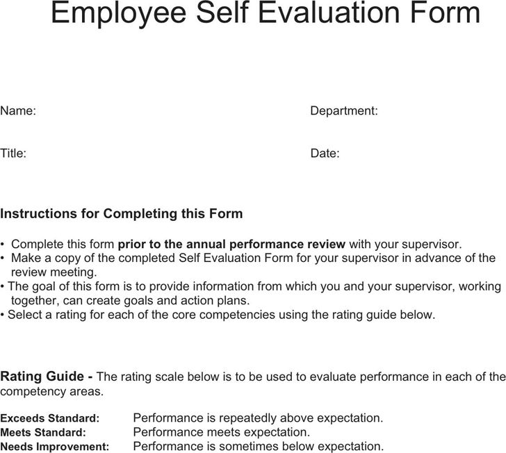 Training Evaluation Form Templates Free Sample Training - self review template
