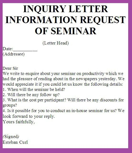 Inquiry Letter Sample For Business Letter Of Inquiry Sales - inquiry letter