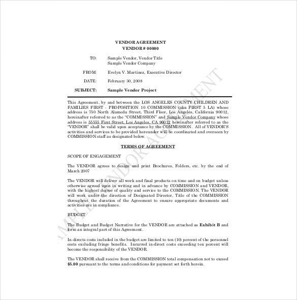 Vendor Agreement Format Vendor Agreement Template 12 Free Word - sample vendor contract