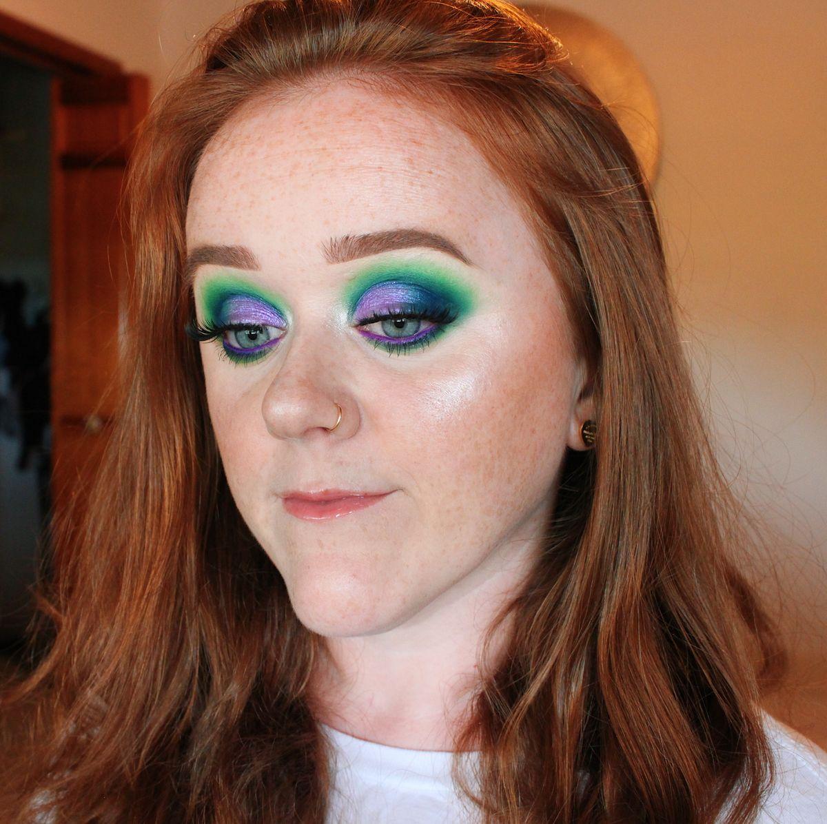 green blue & purple makeup look #makeup #makeuptutorial #eyemakeup #makeuplooks