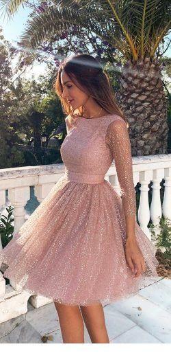 Sweet light pink dress with glitter