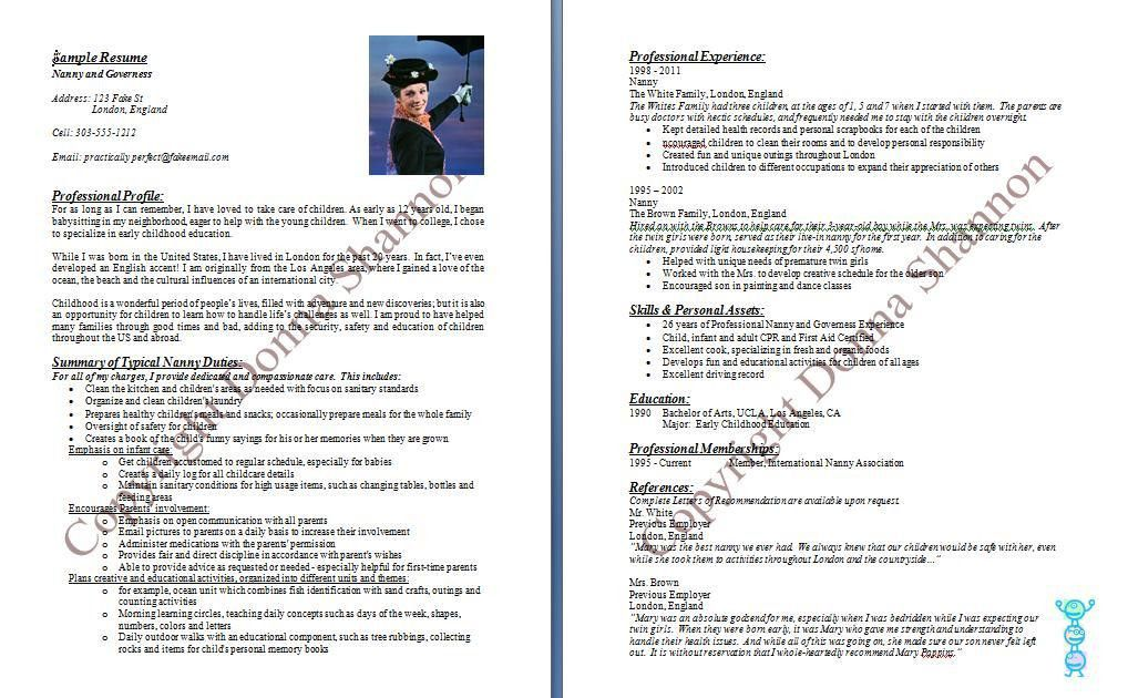 Professional Nanny Resume Sample Unforgettable Full Time Nanny  Resume For A Nanny