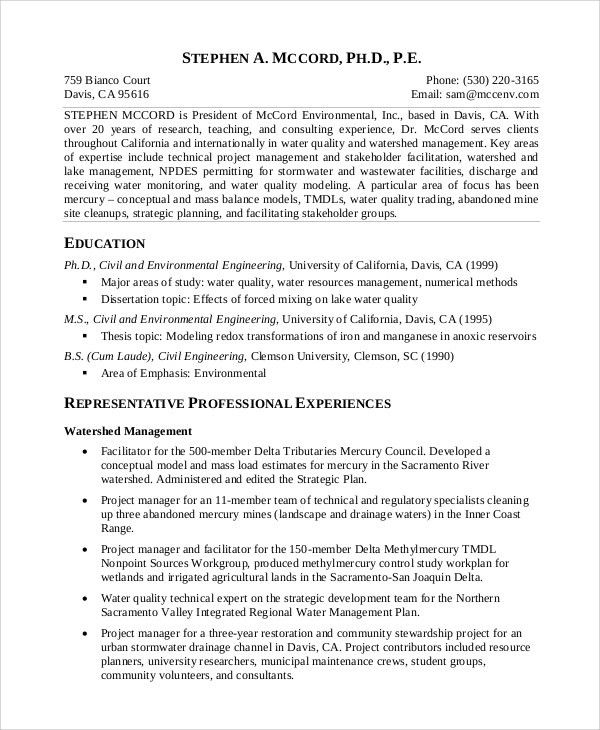 Water Resource Specialist Sample Resume Water Resource Specialist