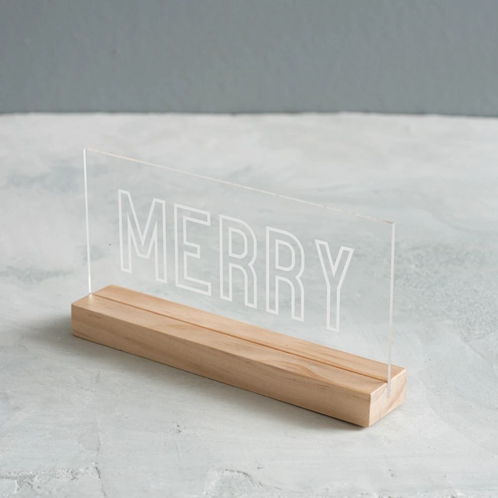 Merry Etched Acrylic Sign | Magnolia
