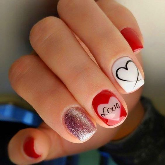 Best Valentine Day Nails Ideas & ‪Heart Nail Art Design – isishweshwe