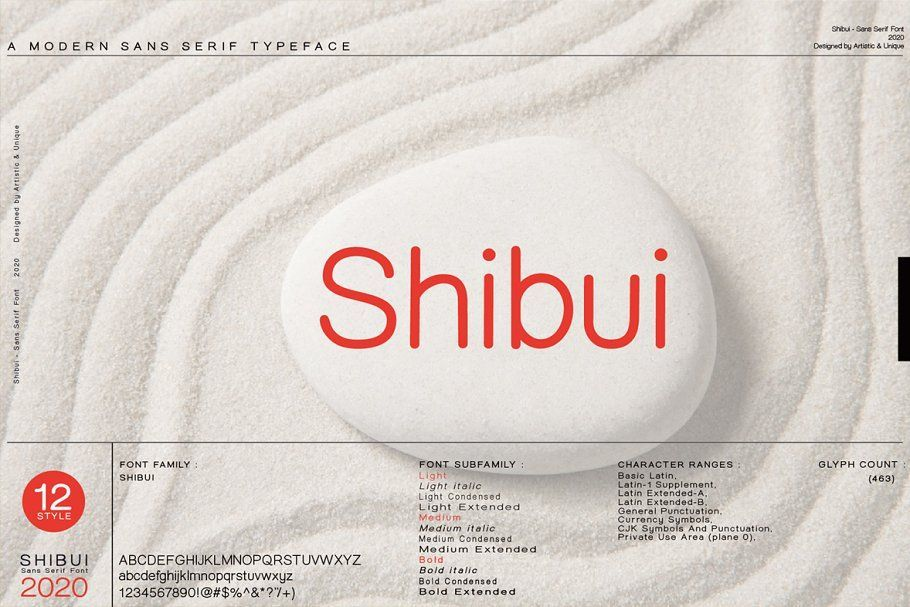 Shibui - Sans serif font, character structure is simple alphabet style. It has an elegant appearance with rounded folds. It offers the best solutions in your digital projects with this font which is highly readable in the smallest dimensions. With its modern minimalist stance, this font can meet your needs in all modern or classic creative projects.